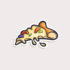 Vector sticker with cartoon pizza slice isolated on white. Hand drawn illustration with fast food object in comics style