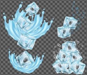 Ice cube and water splashing vector illustration