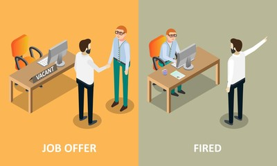 Job offer and fired vector concept design elements