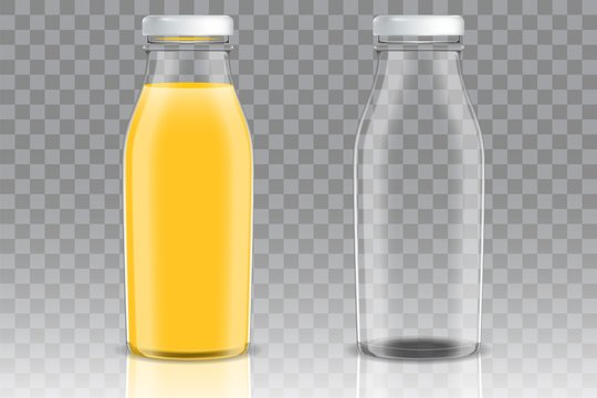 Orange juice glass bottle vector mockup set