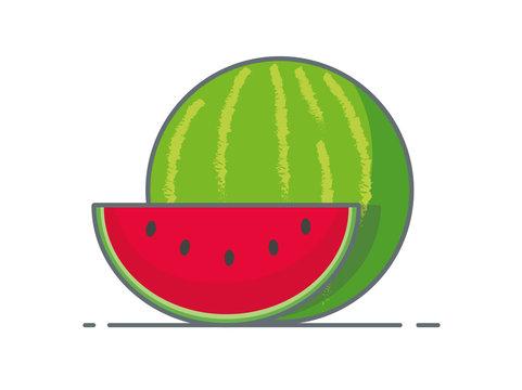 vector illustration of watermelon line art
