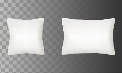 Blank white pillow mock up set vector illustration