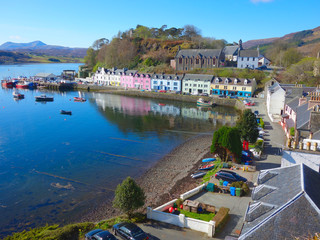 Portree , Isle of Skye , harbour area taken in April 2018 showing the main village centre and boating area