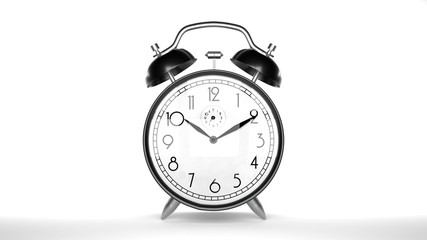 Alarm clock, white background, closeup, isolated
