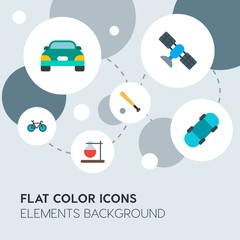 transports, science, sports flat vector icons and elements background with circle bubbles networks.Multipurpose use on websites, presentations, brochures and more