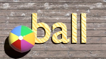 A ball word example - learn english vocabulary word cards for kids and adults - single word with a corresponding object to help in study and remembering basic words, close up