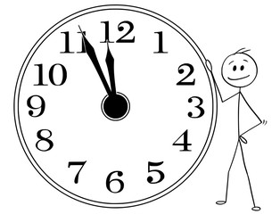 Cartoon stick man drawing conceptual illustration of smiling businessman leaning on big wall clock displaying five minutes before twelve hours or midday or midday. Business or political concept of