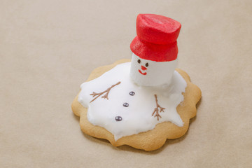 homemade gingerbread like melting snowman on the baking paper