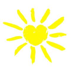 Watercolor sun icon. Children's drawing. Vector design element
