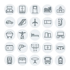 Modern Simple Set of transports, industry, furniture Vector outline Icons. Contains such Icons as  interior,  couch, sofa,  clothing,  metro and more on white background. Fully Editable. Pixel Perfect