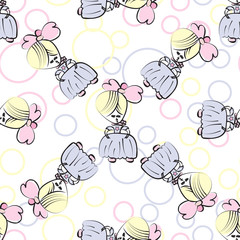 Princess in pink and blue. Seamless pattern for girls design.