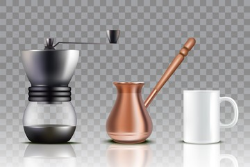 Turkish coffee set, vector realistic illustration