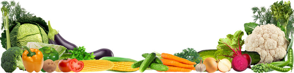 Printed kitchen splashbacks Fresh vegetables banner with a variety of vegetables