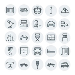 Modern Simple Set of transports, industry, furniture Vector outline Icons. Contains such Icons as  single,  open,  side,  car,  safety, car and more on white background. Fully Editable. Pixel Perfect