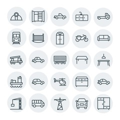 Modern Simple Set of transports, industry, furniture Vector outline Icons. Contains such Icons as subway,  wooden,  building,  industry, car and more on white background. Fully Editable. Pixel Perfect