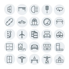 Modern Simple Set of transports, industry, furniture Vector outline Icons. Contains such Icons as  light,  wiper,  interior,  board,  glass and more on white background. Fully Editable. Pixel Perfect