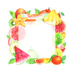 Hand painted square fruit frame. Watercolor pineapple, horned melon, mandarin, blood orange, kiwi, rambutan, watermelon, kumquat, grapefruit, carambola, muskmelon, guava on white background