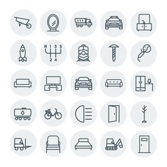 Modern Simple Set of transports, industry, furniture Vector outline Icons. Contains such Icons as  shovel,  tv,  shipping,  worker,  seat and more on white background. Fully Editable. Pixel Perfect
