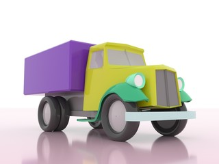 Cartoon truck fast delivery icon isolated on white background