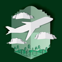 airplane flying with clouds and landscape vector illustration design