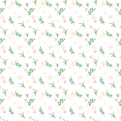 Vector floral pattern in doodle style with flowers and leaves. Gentle, spring floral background