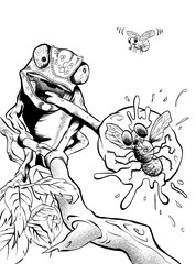 Illustration of a Chameleon catching a fly