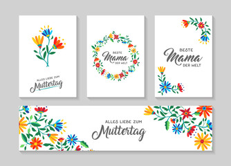 Happy mother day german flower art card set