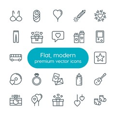 Modern Simple Set of clothes, valentine, kids and toys Vector outline Icons. Contains such Icons as  cube,  food, guitar,  heart,  baby, bra and more on white background. Fully Editable. Pixel Perfect