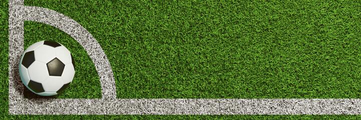 Fußball in Ecke für Eckstoß oder Eckball