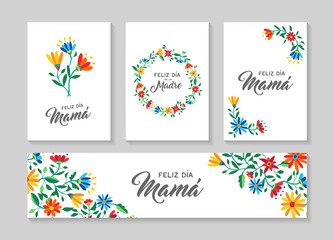 Happy mother day spanish flower art card set