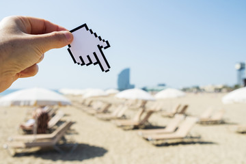 man pointing to La Barceloneta beach in Barcelona