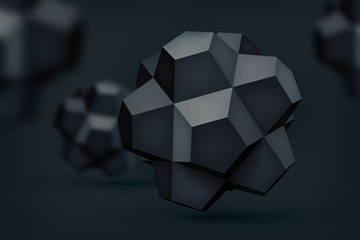 Volume polyhedron black stars, 3d vector object, blurred shapes, geometry forms, dark crystals, mesh version, abstract elements for you design project