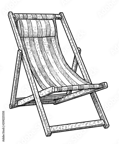wooden chaise lounge beach chair illustration drawing engraving