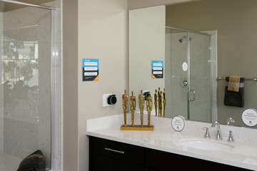 An Amazon Echo Dot is seen in a bathroom in an Amazon 'experience center'  in Vallejo
