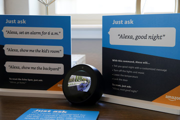 An Amazon Echo Spot displays a video feed of the backyard in an Amazon 'experience center' in Vallejo