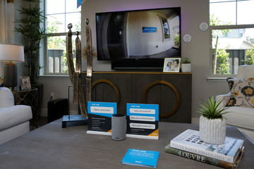An Amazon Echo displays a video feed of the front door on a TV in the living room of an Amazon 'experience center' in Vallejo