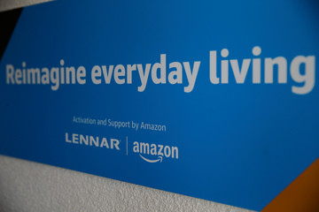 A sign touting Amazon's collaboration with Lennar home builders is seen at an Amazon 'experience center' in Vallejo