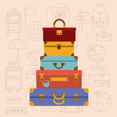 pile suitcases with travel set icons vector illustration design