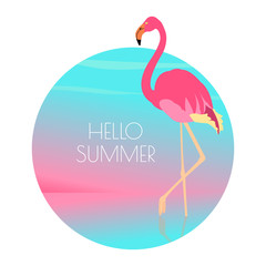 Pink flamingo standing in water on one leg at sunset. Exotic bird made in flat style. Hello summer vacation concept. Vector illustration.