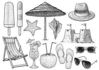 Beach accessories collection illustration, drawing, engraving, ink, line art, vector
