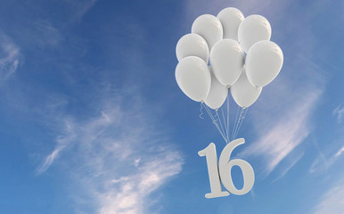 Number 16 party celebration. Number attached to a bunch of white balloons against blue sky