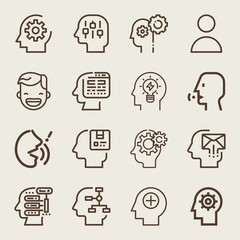 Set of 16 head outline icons