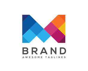 creative letter M with the concept of colorful mosaic style logo vector