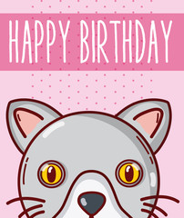 Happy birthday card with animal cartoon