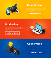 Home studio production and online video banners of isometric color design