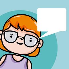 Girl with blank bubble speech cartoon