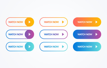 vector illustration watch now colorful button set on white background. Flat line gradient button collection. web element