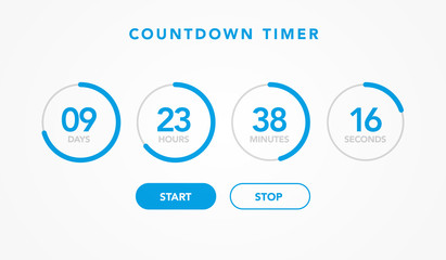 vector illustration countdown timer website element with buttons. Flat digital clock timer application template for coming soon or under construction