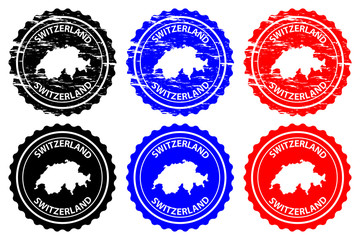 Switzerland - rubber stamp - vector, Swiss Confederation map pattern - sticker - black, blue and red