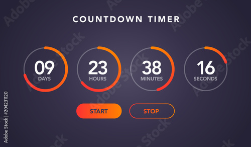 vector illustration countdown timer website element with buttons ...